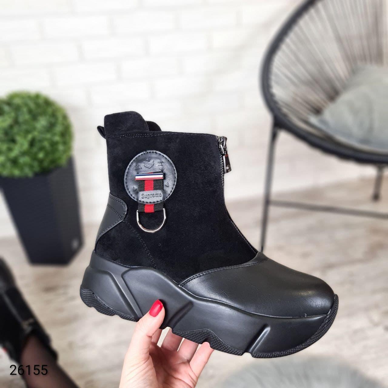 Женские зимние ботинки на высокой подошве с декоративными элементами LS-26155