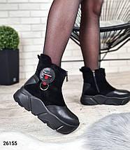 Женские зимние ботинки на высокой подошве с декоративными элементами LS-26155, фото 3