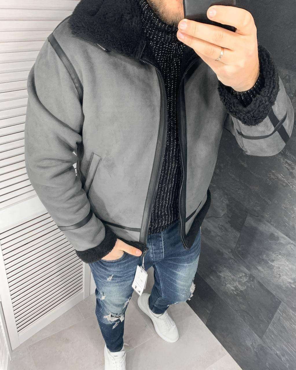 Мужская зимняя серая куртка-дубленка