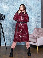 Зимнее тёплое длинное женское пальто одеяло пуховик бордовое 44-50 р.