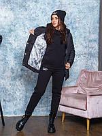 Костюм трійка жіночий молодіжний на флісі:куртка,спортивний костюм,шапка чорного кольору
