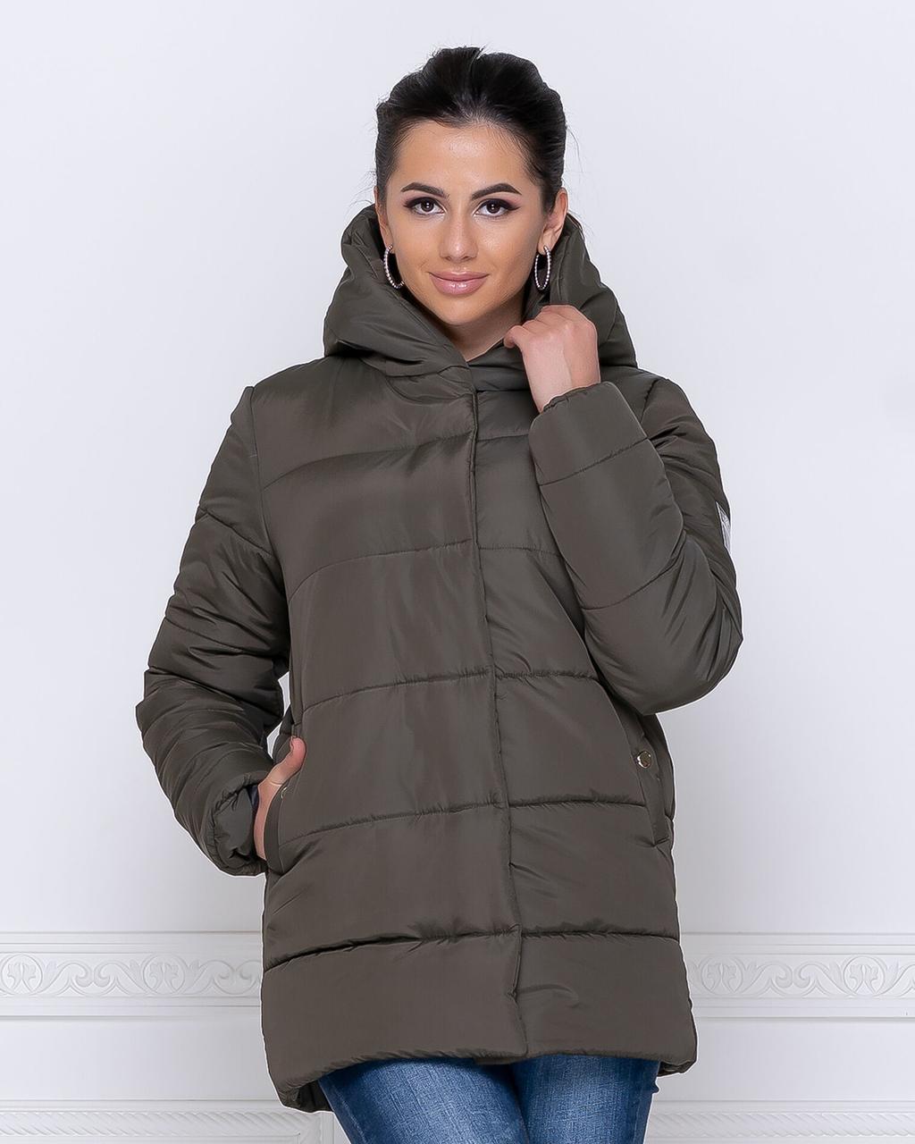 Куртка зимова з капюшоном кольору хакі від YuLiYa Chumachenko