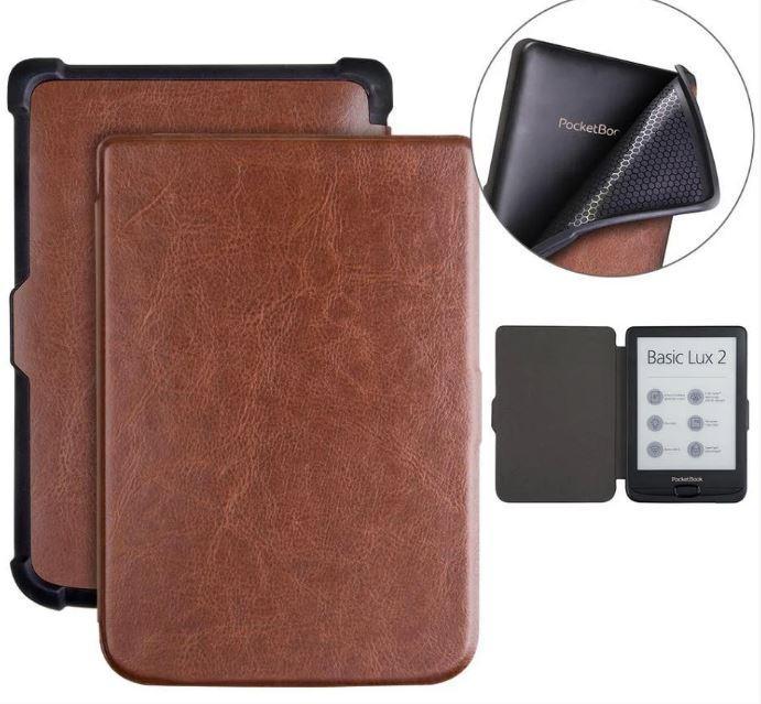 Обложка чехол  для PocketBook Touch Lux 4 627 автосон коричневый