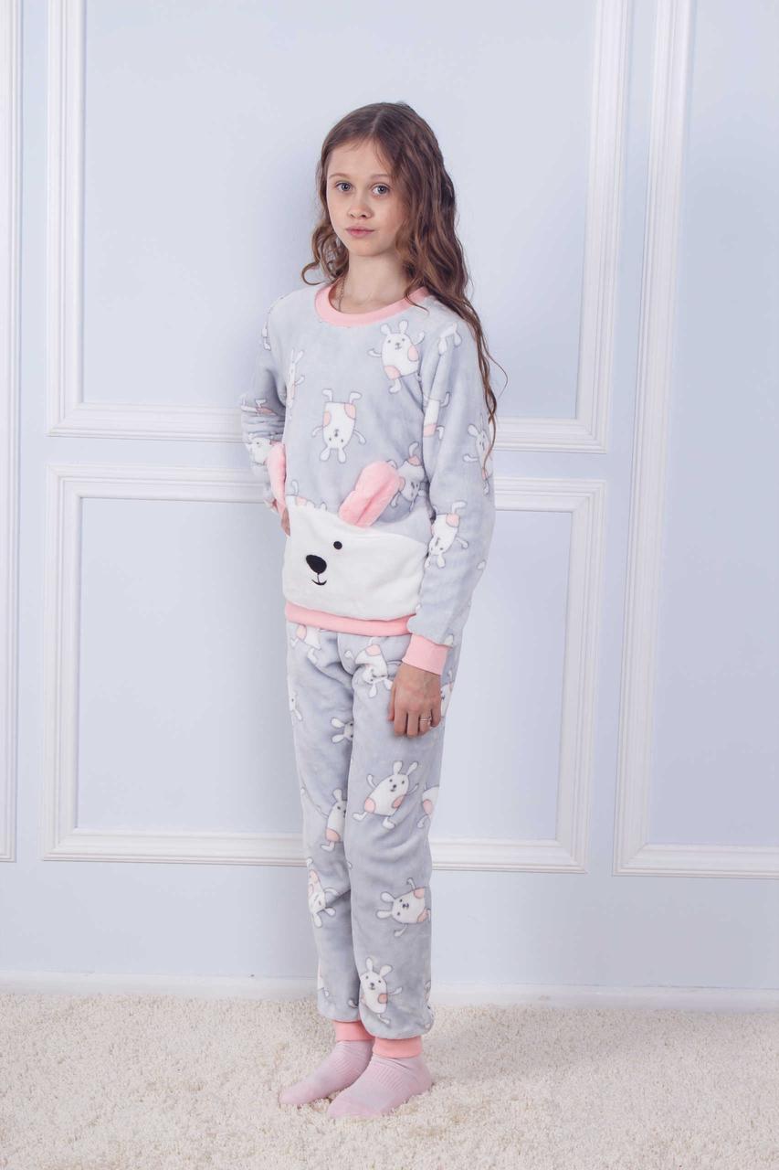 Махрова піжама з принтом зайця для дівчаток 8-14 років