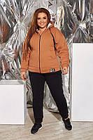 Зимовий спортивний костюм на овчині кольору кемел від YuLiYa Сһимасһепко, фото 1