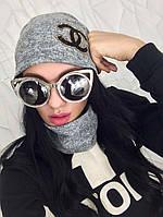 Женская шапка и снуд с термонаклейкой ШАНЕЛЬ  серого цвета  от YuLiYa Chumachenko