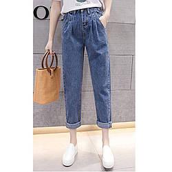 Джинси жіночі з гумкою стильні короткі світло-сині Fashion #62