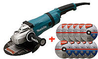 Угловая шлифмашина Makita GA9040RF01 + 10 зачистных диска по металлу Makita 230 мм GA9040RF01-D-1, КОД: