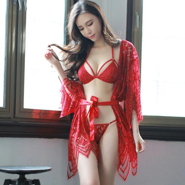 Кружевной комплект халат с бельем Dear Lover 2209 S/M/L