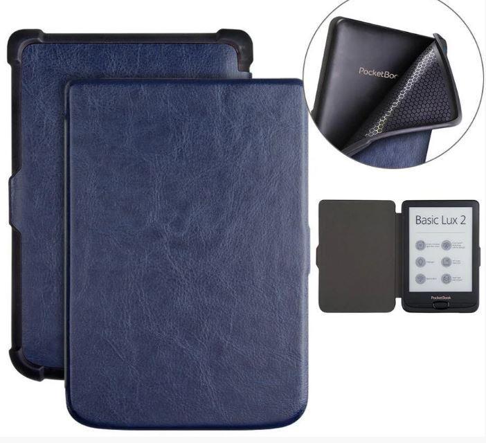 Обложка чехол  для PocketBook Touch Lux 4 627 автосон темно синий