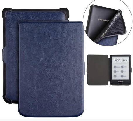 Обложка чехол  для PocketBook 632 Touch HD 3 автосон темно синий, фото 2
