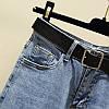Джинсы женские стильные короткие светло-синие с ромашками Flower #63, фото 2