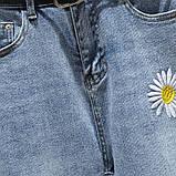 Джинсы женские стильные короткие светло-синие с ромашками Flower #63, фото 3