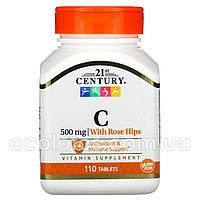 "Витамин С с шиповником ""21st Century"" 500 мг 110 таблеток"