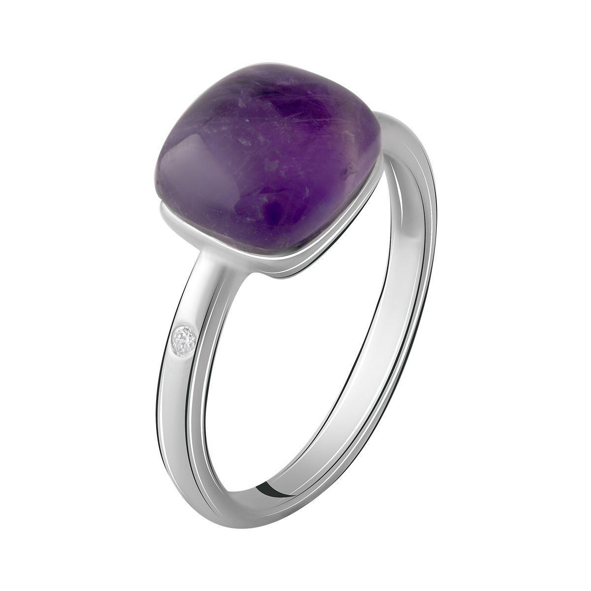 Серебряное кольцо pSilverAlex с натуральным аметистом (2069874) 17.5 размер