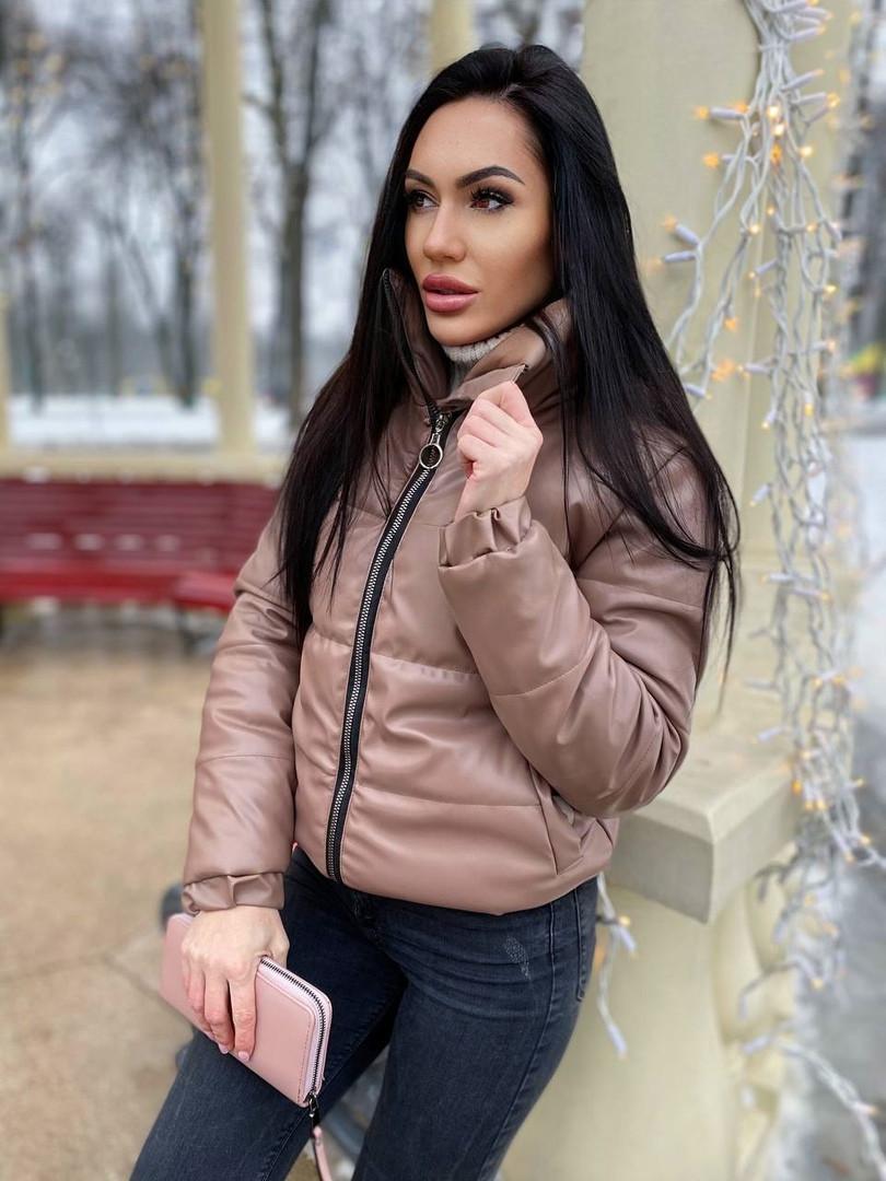 Женская стильная теплая куртка из эко-кожи на силиконе (Норма)