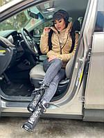 Женская стильная теплая куртка из эко-кожи на силиконе (Норма), фото 3