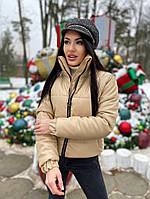 Женская стильная теплая куртка из эко-кожи на силиконе (Норма), фото 4