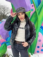 Женская стильная теплая куртка из эко-кожи на силиконе (Норма), фото 5