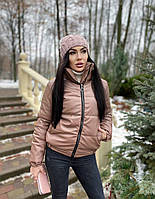 Женская стильная теплая куртка из эко-кожи на силиконе (Норма), фото 8