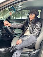 Женская стильная теплая куртка из эко-кожи на силиконе (Норма), фото 9