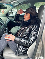 Женская стильная теплая куртка из эко-кожи на силиконе (Норма), фото 10