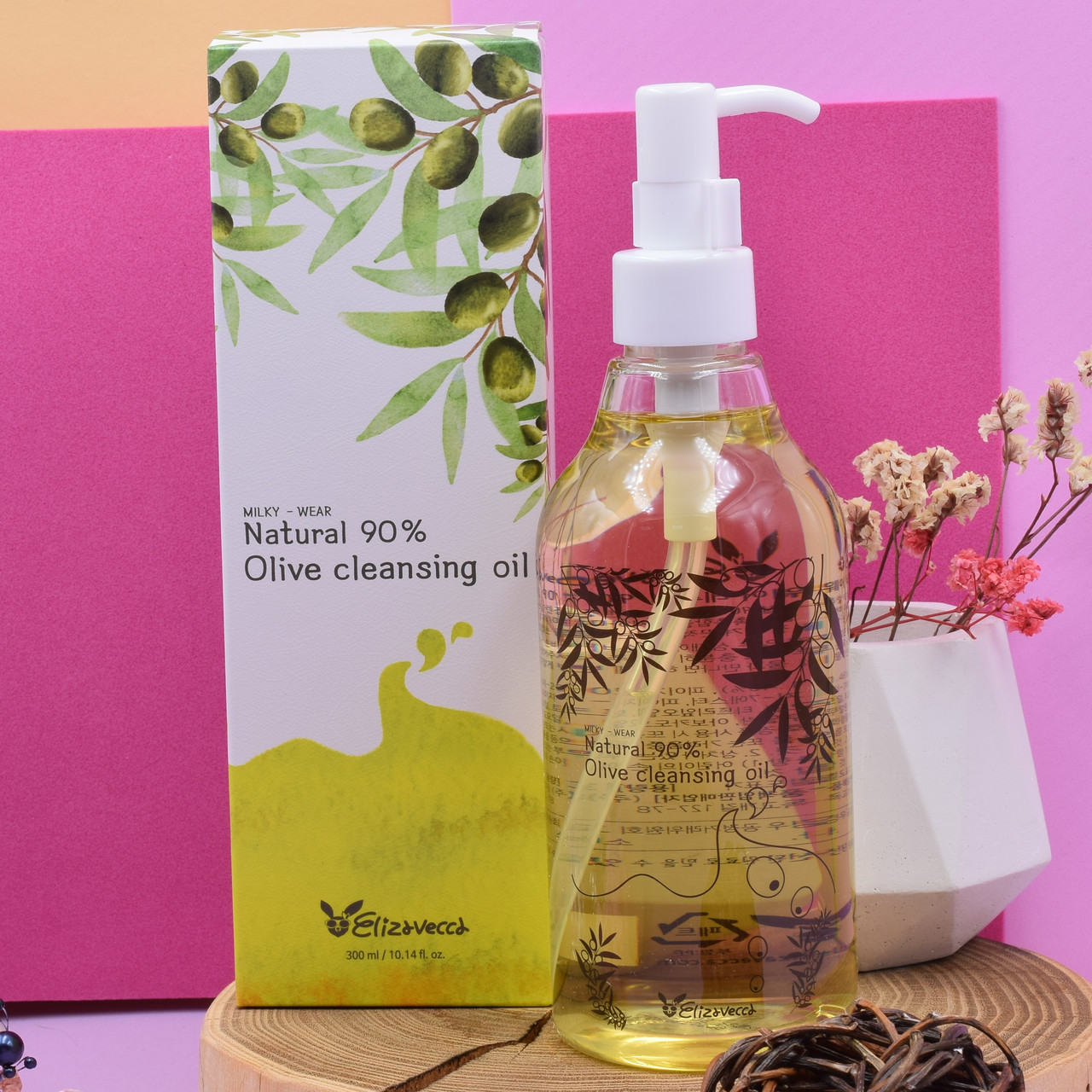 Гидрофильное масло для умывания Elizavecca с содержанием оливкового масла 90% Natural 90% Olive Cleansing Oil