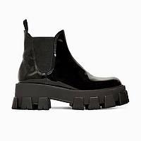 Ботинки женские на меху Прадa ( Prada Beatle Boots Gloss )