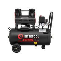 Компресор 24 л, 1.1 кВт, 220В, 8атм, 160 л/хв, 1400 об/хв, малошумний, безмасляний, 2 циліндра INTERTOOL