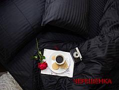 Полуторный набор постельного белья 150*220 из Страйп Сатина №50111 Черешенка™