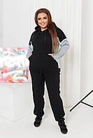 Спортивный костюм женский большого размера So StyleM брючный трикотажный Черный