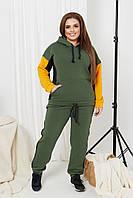 Спортивный костюм женский большого размера So StyleM брючный трикотажный хаки