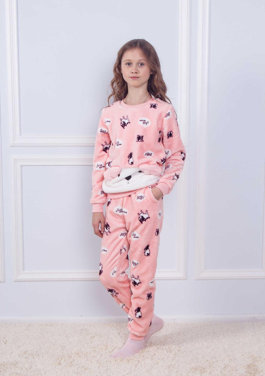 Махрова рожева піжама з принтом собачок для дівчаток 8-14 років
