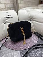Маленькая женская сумка клатч через плечо натуральный замш и эко-кожа