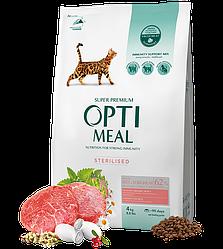 Корм Optimeal Оптіміл для стерилізованих кішок з високим вмістом яловиччини та сорго 4 кг