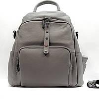 Рюкзак-сумка средний женский из натуральной кожи городской серый, фото 1