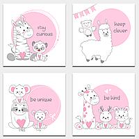 Карточки для пожеланий Розовые