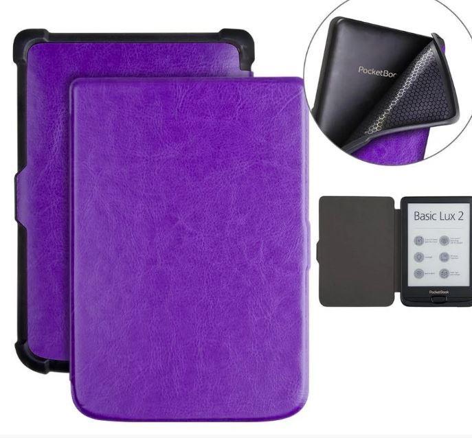 Чехол обложка  для PocketBook 606  автосон фиолетовый
