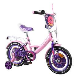 """Велосипед Donut 14"""" 2-х колісний pink purple з дзвінком дзеркалом та ручним гальмом T-214214"""