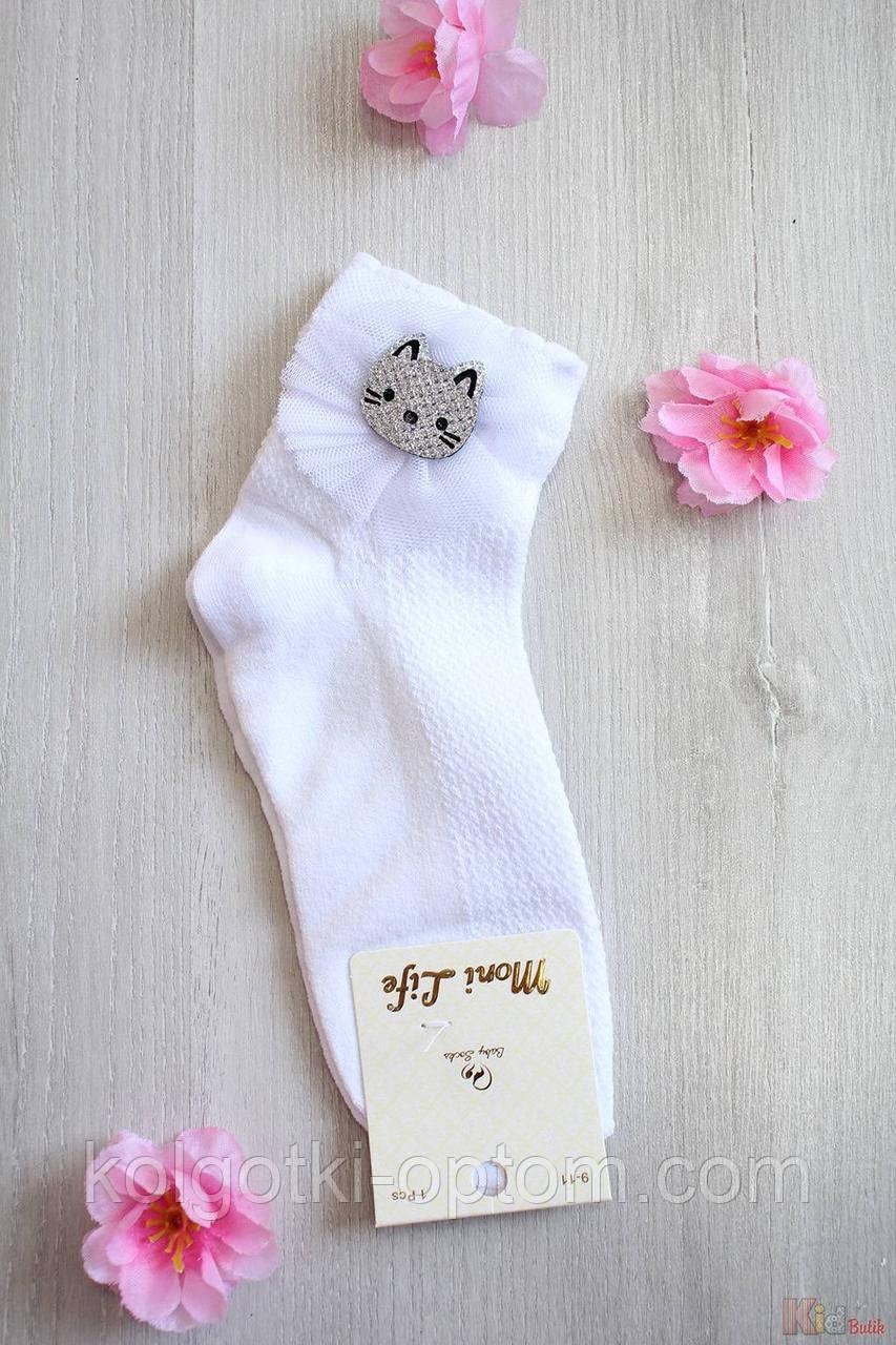 ОПТОМ Носки белые ароматизированные с серебристым котиком (18 / 5-6 лет)  Moni Life 2125000677699