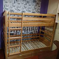 Двухэтажная кровать Милана в лаке, массив ольхи