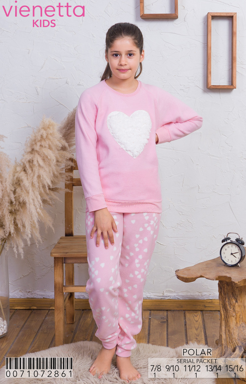 Флисовая розовая пижама с сердечками для девочек 7-16 лет