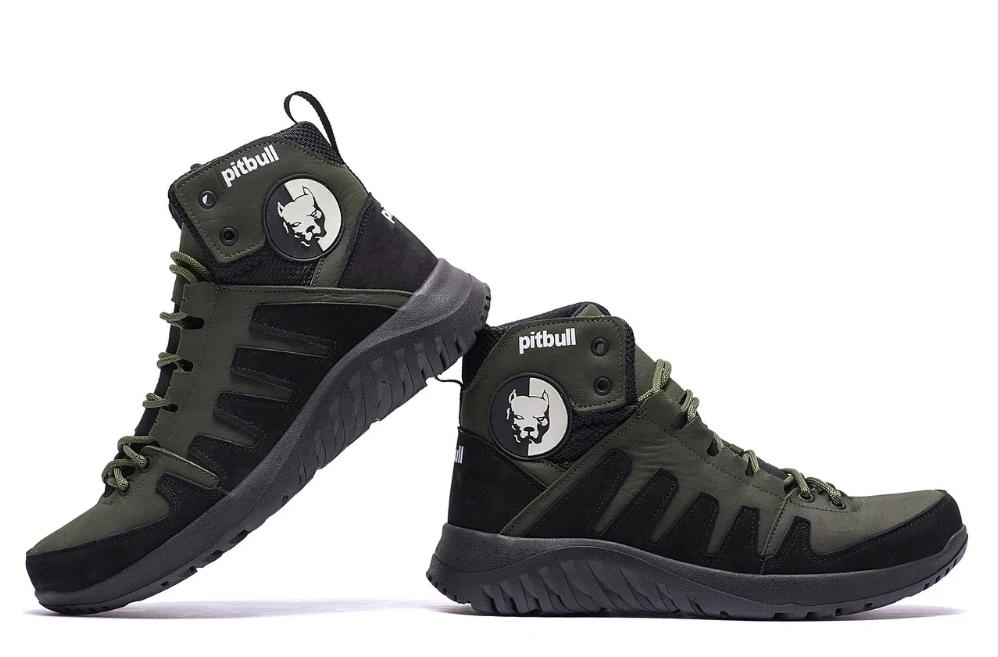 Ботинки зимние мужские кожаные Pitbull Olive (реплика)