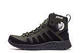 Ботинки зимние мужские кожаные Pitbull Olive (реплика), фото 3