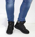 Женские низкие спортивные дутики черного цвета на шнурках, фото 3