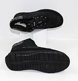 Женские низкие спортивные дутики черного цвета на шнурках, фото 5