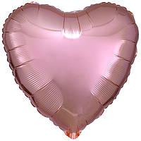 """Фольгированный шар Anagram Сердце 18"""" (46 см)  розовое золото металлик"""