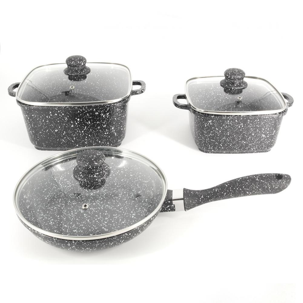 Набор посуды A-PLUS 6 предметов Мраморное покрытие