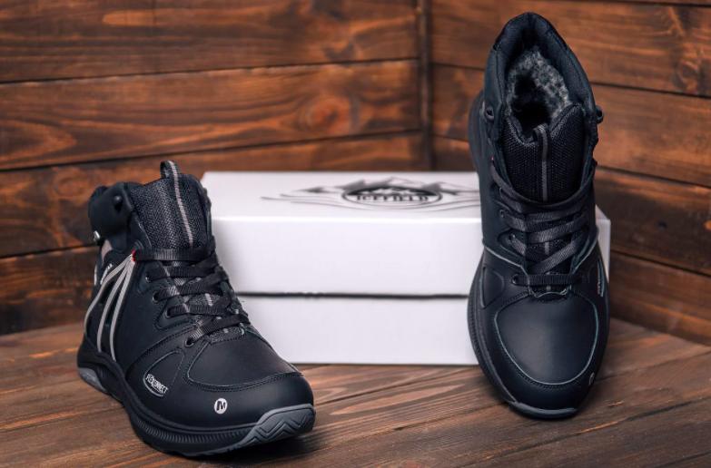 Мужские ботинки в стиле MERRELL SLAB Black натуральная кожа зимние
