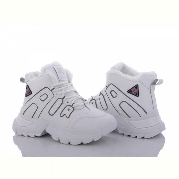 Женские зимние белые ботинки на меху